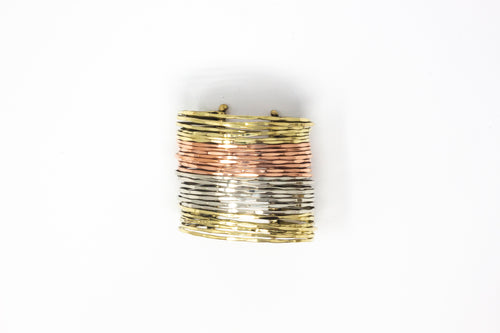 Three-Metal Goddess Bracelet Cuff