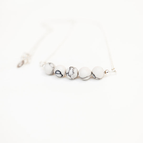 Sterling silver howlite necklace