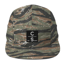 Load image into Gallery viewer, CS Five Panel Cap Headwear Cedar & Sea Christian Outdoor Apparel Green Tiger Camo