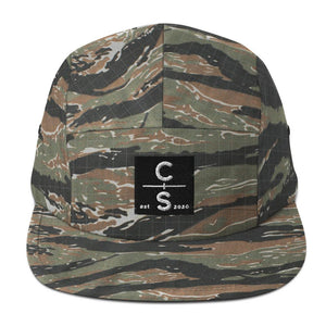 CS Five Panel Cap Headwear Cedar & Sea Christian Outdoor Apparel Green Tiger Camo