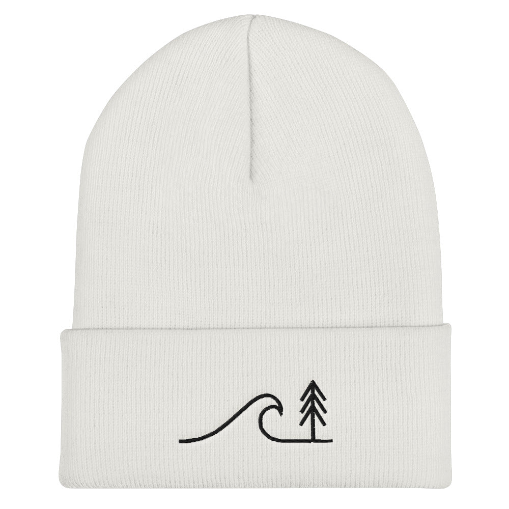 Cedar & Sea Line Art Cuffed Beanie