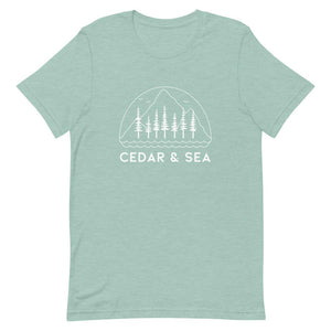 Mountains & Sea Women's Tee Shirts Cedar & Sea Christian Outdoor Apparel Heather Prism Dusty Blue XS