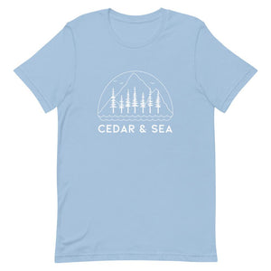 Mountains & Sea Women's Tee Shirts Cedar & Sea Christian Outdoor Apparel Light Blue XS