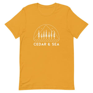Mountains & Sea Women's Tee Shirts Cedar & Sea Christian Outdoor Apparel Mustard S