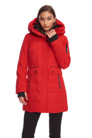 WOMEN'S CRIMSON VEGAN DOWN MID-LENGTH PARKA