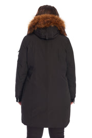 WOMEN'S BLACK VEGAN DOWN LONG PARKA (PLUS SIZE)