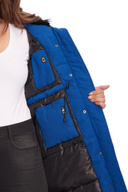 WOMEN'S COBALT VEGAN DOWN LONG PARKA (PLUS SIZE)