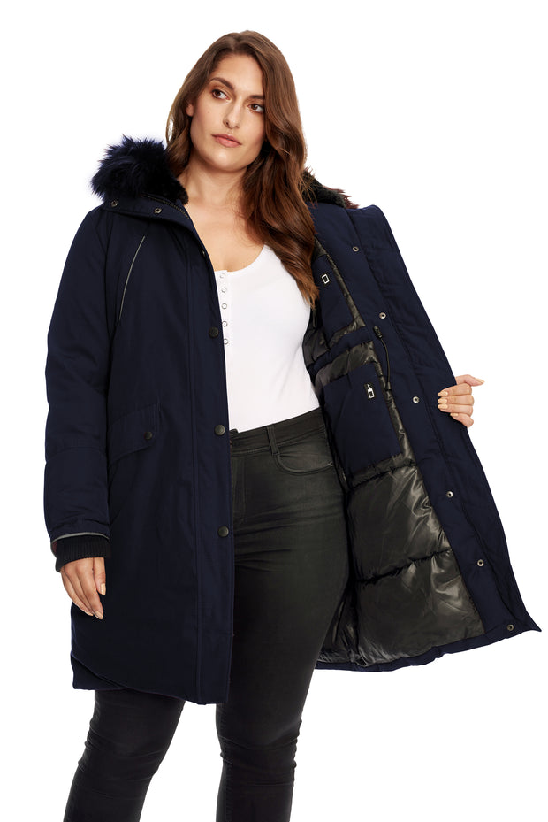 WOMEN'S NAVY VEGAN DOWN LONG PARKA (PLUS SIZE)