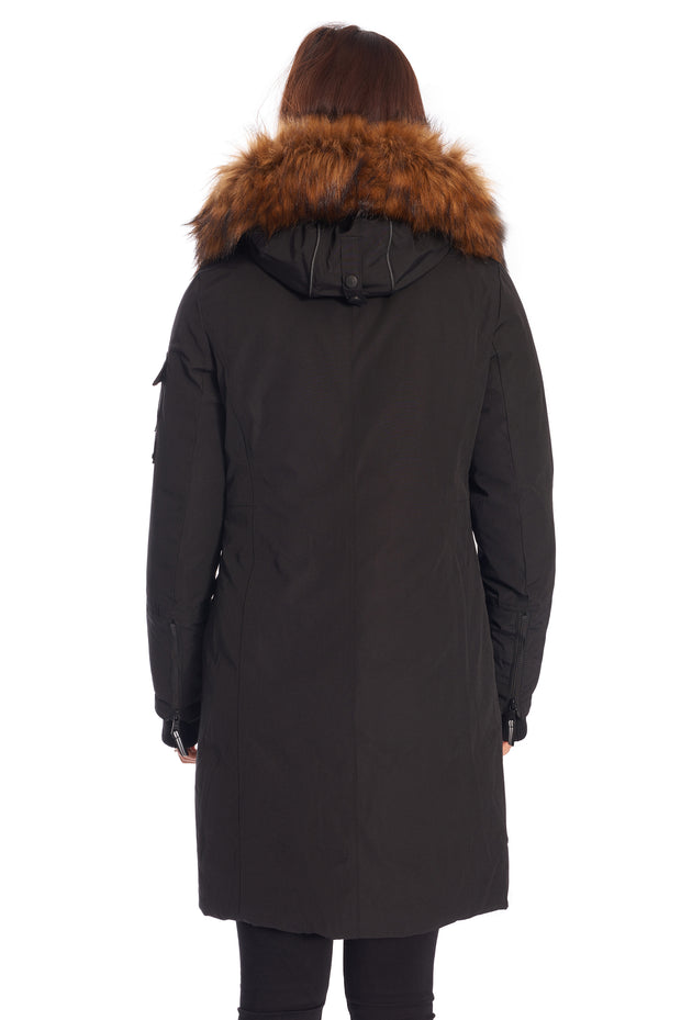 WOMEN'S BLACK VEGAN DOWN LONG PARKA