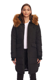 WOMEN'S BLACK VEGAN DOWN DRAWSTRING PARKA