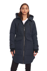 WOMEN'S NAVY VEGAN DOWN DRAWSTRING PARKA