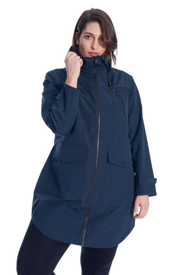 WOMEN'S NAVY DRAWSTRING RAINCOAT (PLUS SIZE)