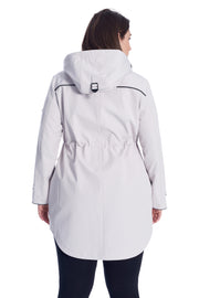 WOMEN'S PLATINUM DRAWSTRING RAINCOAT (PLUS SIZE)