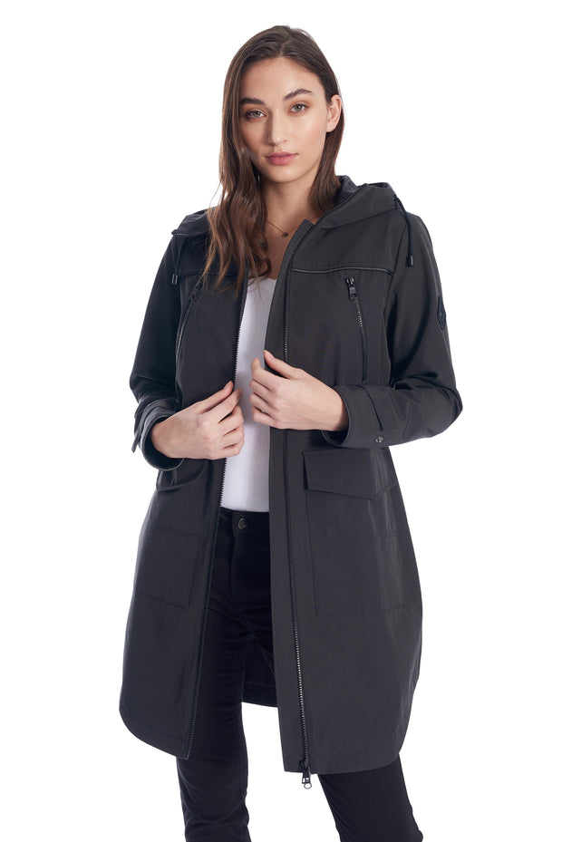 WOMEN'S PEWTER DRAWSTRING RAINCOAT