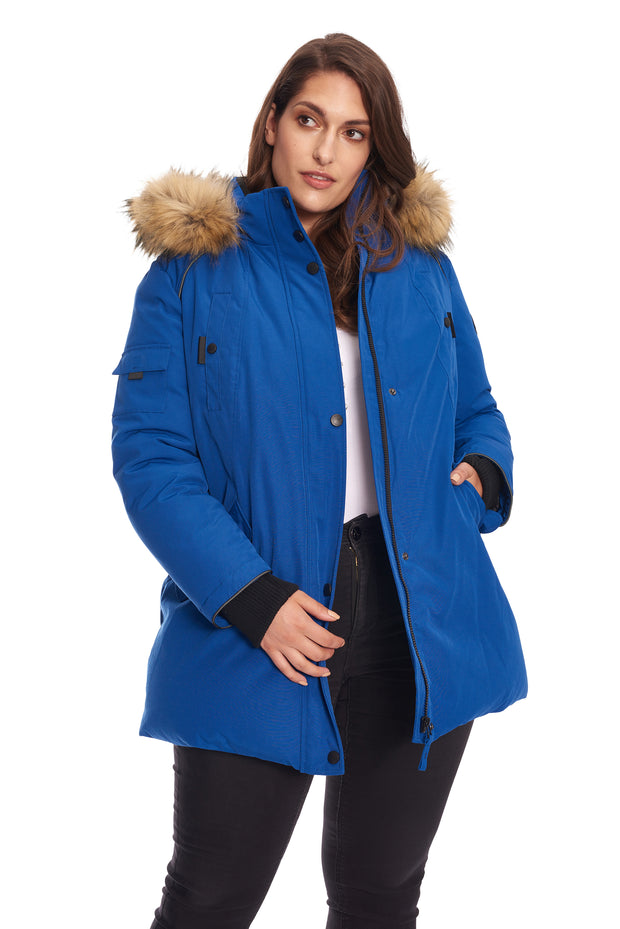 WOMEN'S COBALT VEGAN DOWN PARKA (PLUS SIZE)
