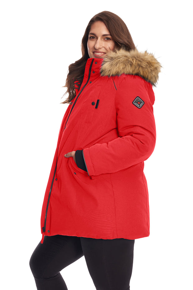 WOMEN'S CRIMSON VEGAN DOWN PARKA (PLUS SIZE)