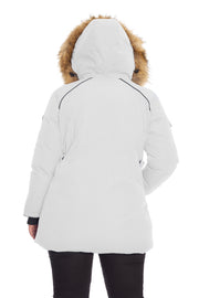 WOMEN'S WHITE VEGAN DOWN PARKA (PLUS SIZE)