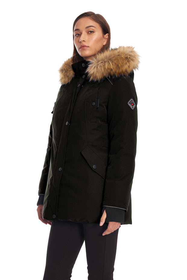 WOMEN'S BLACK VEGAN DOWN PARKA