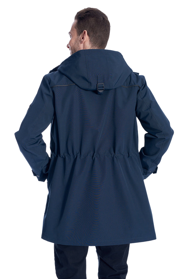 MEN'S NAVY DRAWSTRING RAINCOAT