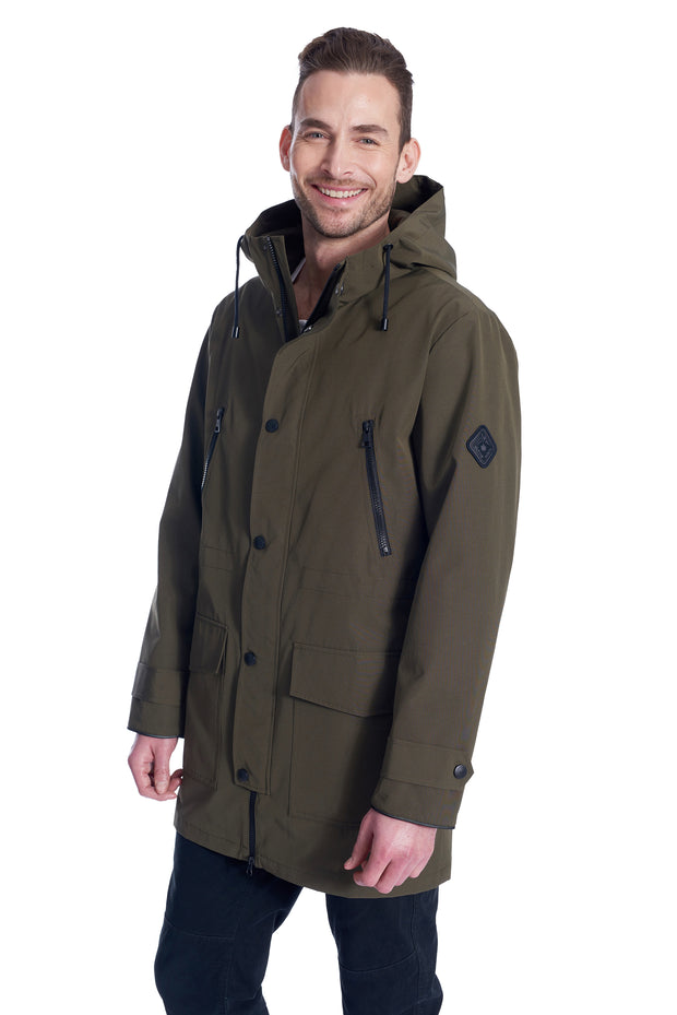 MEN'S ARMY DRAWSTRING RAINCOAT