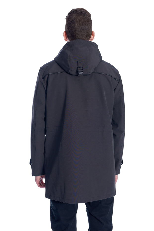 MEN'S PEWTER DRAWSTRING RAINCOAT