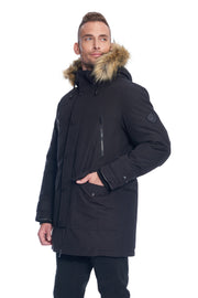 MEN'S BLACK VEGAN DOWN DRAWSTRING PARKA