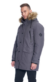 MEN'S DARK GREY VEGAN DOWN DRAWSTRING PARKA