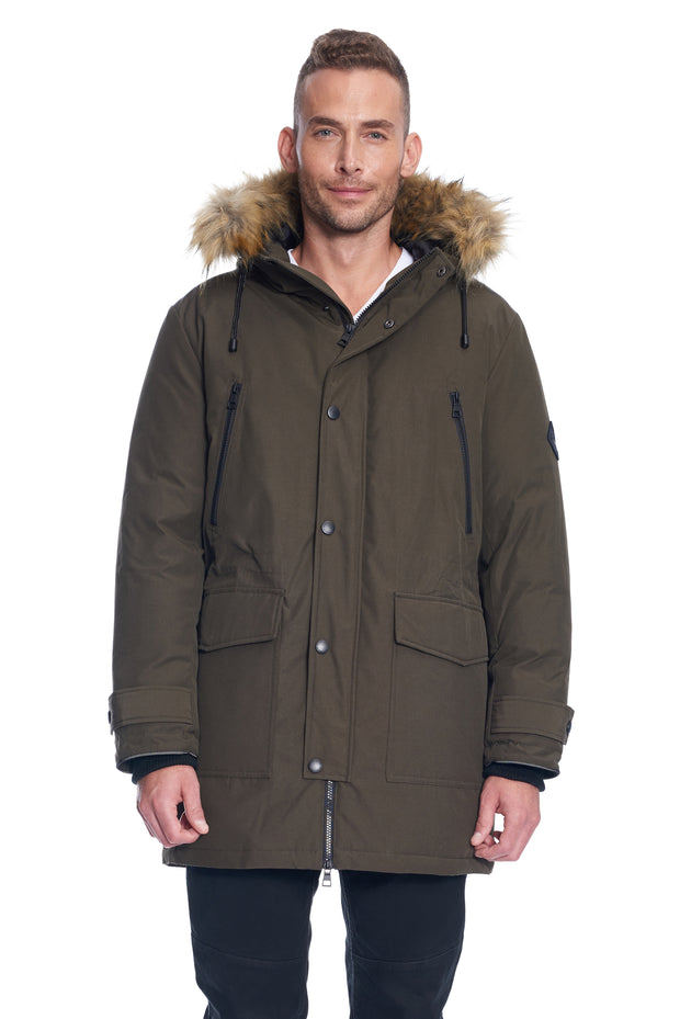 MEN'S OLIVE VEGAN DOWN DRAWSTRING PARKA