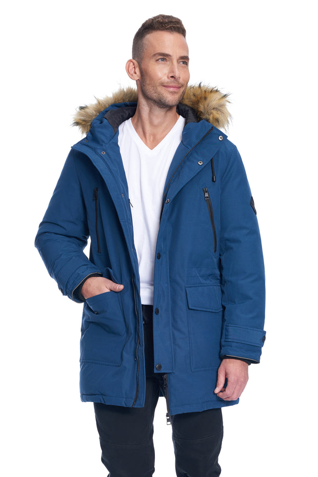 MEN'S SEA BLUE VEGAN DOWN DRAWSTRING PARKA