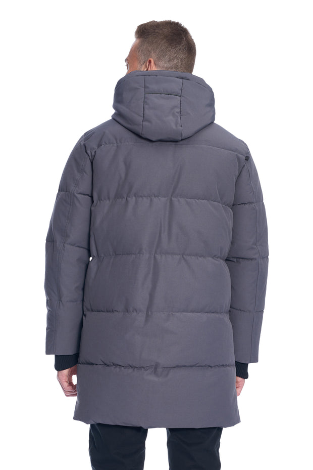 MEN'S DARK GREY VEGAN DOWN PUFFER COAT