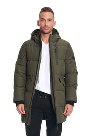 MEN'S OLIVE VEGAN DOWN PUFFER COAT