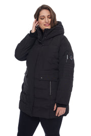 WOMEN'S BLACK VEGAN DOWN MID-LENGTH PARKA (PLUS SIZE)
