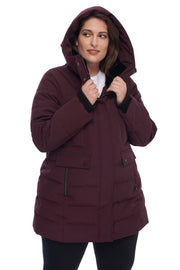 WOMEN'S GRAPE VEGAN DOWN MID-LENGTH PARKA (PLUS SIZE)