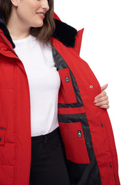 WOMEN'S CRIMSON VEGAN DOWN MID-LENGTH PARKA (PLUS SIZE)