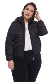 WOMEN'S BLACK VEGAN DOWN LIGHTWEIGHT PACKABLE PUFFER (PLUS SIZE)