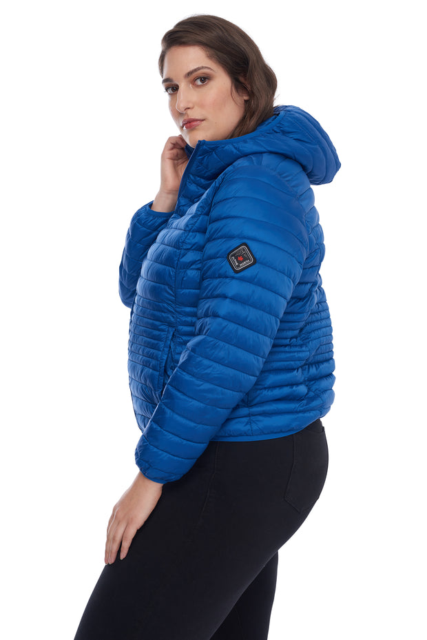 WOMEN'S COBALT VEGAN DOWN LIGHTWEIGHT PACKABLE PUFFER (PLUS SIZE)