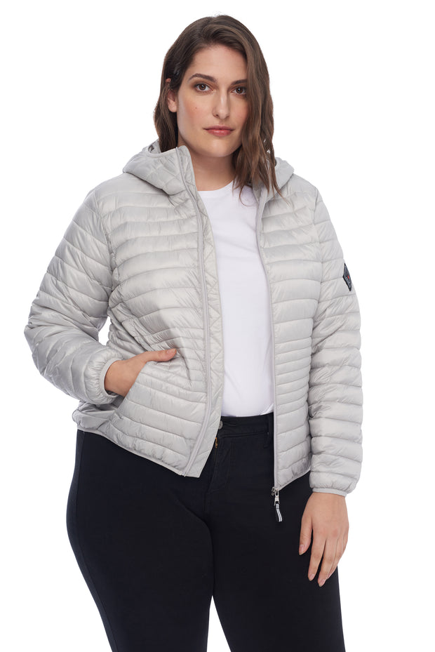 WOMEN'S SILVER VEGAN DOWN LIGHTWEIGHT PACKABLE PUFFER (PLUS SIZE)