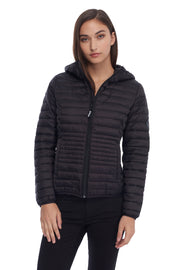 WOMEN'S BLACK VEGAN DOWN LIGHTWEIGHT PACKABLE PUFFER