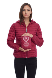 WOMEN'S RASPBERRY VEGAN DOWN LIGHTWEIGHT PACKABLE PUFFER