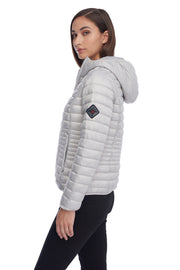 WOMEN'S SILVER VEGAN DOWN LIGHTWEIGHT PACKABLE PUFFER