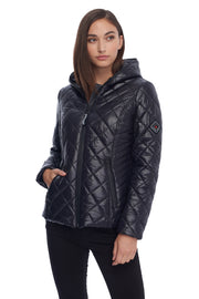 WOMEN'S BLACK VEGAN QUILTED LIGHTWEIGHT HOODED PUFFER