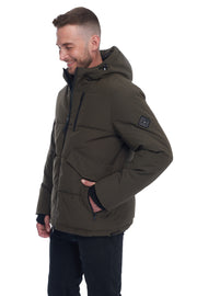 MEN'S OLIVE VEGAN DOWN PUFFER JACKET