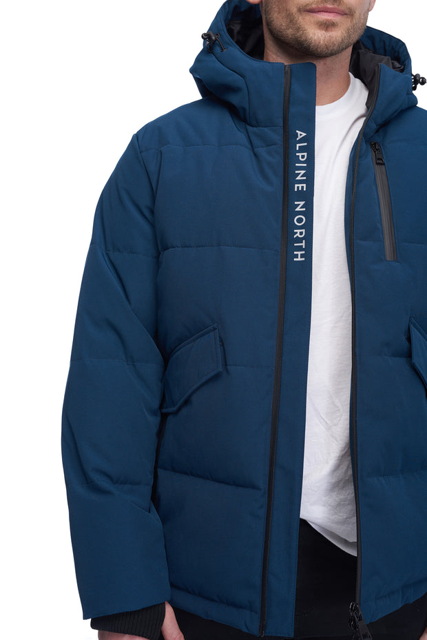 MEN'S SEA BLUE VEGAN DOWN PUFFER JACKET