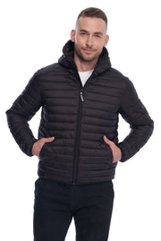 MEN'S BLACK VEGAN DOWN LIGHTWEIGHT PACKABLE PUFFER