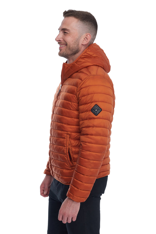 MEN'S BURNT ORANGE VEGAN DOWN LIGHTWEIGHT PACKABLE PUFFER