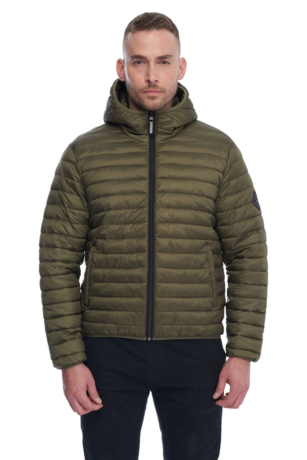 MEN'S OLIVE VEGAN DOWN LIGHTWEIGHT PACKABLE PUFFER