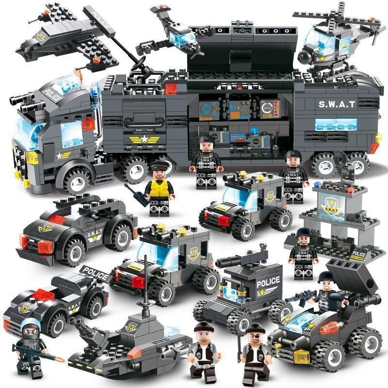 8 IN 1 City Police Truck Station Building Block Series SWAT Toy Gift For Kids - Balma Home