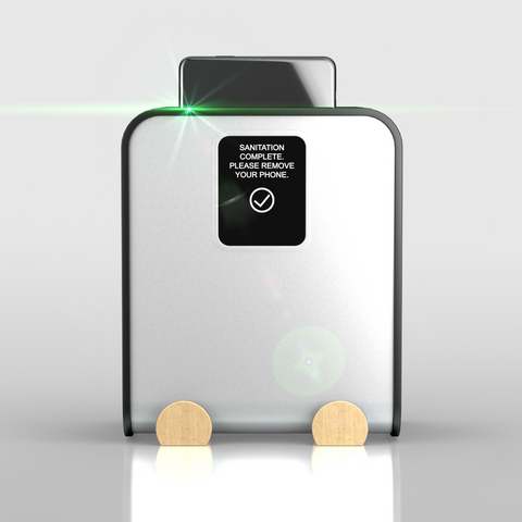 Glissner' CleanPhone phone sanitizer is pictured with a sleek, modern design.