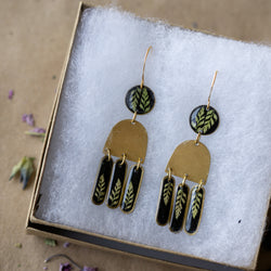 Midnight Ferns & 14k Gold-fill Hooks