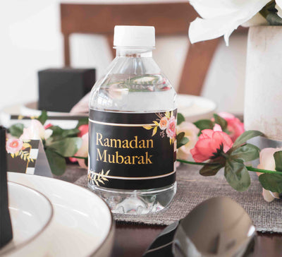 Ramadan Mubarak Water Bottle Wrappers | Eid and Ramadan Decor  | Salaam Cards | Party Supplies